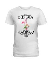 Never Underestimate Old Lady Flamingo July Ladies T-Shirt thumbnail