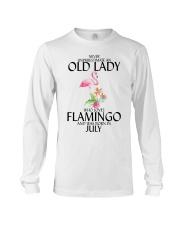 Never Underestimate Old Lady Flamingo July Long Sleeve Tee thumbnail