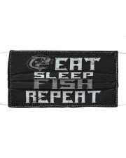Eat sleep fish repeat fishing Cloth face mask front
