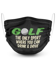 where you can drink drive funny golfer gift 2 Layer Face Mask - Single front