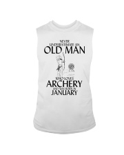 Never Underestimate Old Man Archery January Sleeveless Tee thumbnail