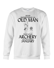 Never Underestimate Old Man Archery January Crewneck Sweatshirt thumbnail