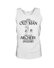 Never Underestimate Old Man Archery January Unisex Tank thumbnail