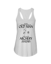 Never Underestimate Old Man Archery January Ladies Flowy Tank thumbnail