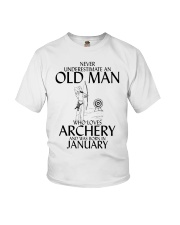 Never Underestimate Old Man Archery January Youth T-Shirt thumbnail
