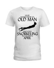 Never Underestimate Old Man Snorkeling April Ladies T-Shirt thumbnail