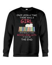 Reading Once Upon A Time A Girl Books Cats Crewneck Sweatshirt thumbnail