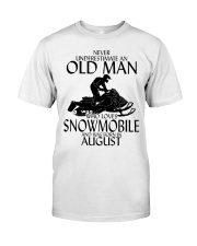 Never Underestimate Old Man Snowmobile August Classic T-Shirt front