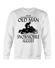Never Underestimate Old Man Snowmobile August Crewneck Sweatshirt thumbnail