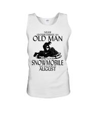 Never Underestimate Old Man Snowmobile August Unisex Tank thumbnail