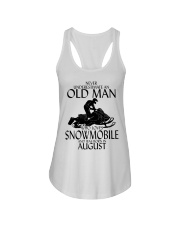 Never Underestimate Old Man Snowmobile August Ladies Flowy Tank thumbnail