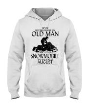 Never Underestimate Old Man Snowmobile August Hooded Sweatshirt thumbnail