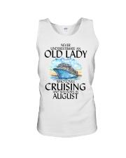 Never Underestimate Old Lady Cruising August Unisex Tank thumbnail