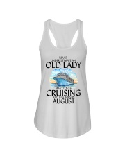 Never Underestimate Old Lady Cruising August Ladies Flowy Tank thumbnail