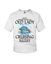 Never Underestimate Old Lady Cruising August Youth T-Shirt thumbnail