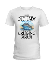 Never Underestimate Old Lady Cruising August Ladies T-Shirt thumbnail