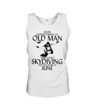 Never Underestimate Old Man Skydiving June Unisex Tank thumbnail