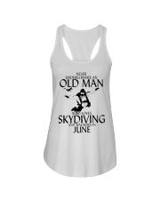 Never Underestimate Old Man Skydiving June Ladies Flowy Tank thumbnail