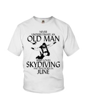 Never Underestimate Old Man Skydiving June Youth T-Shirt thumbnail