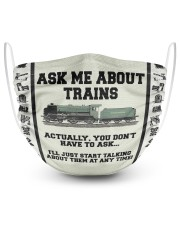 Ask Me About Trains  2 Layer Face Mask - Single front