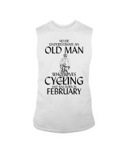 Never Underestimate Old Man Cycling February Sleeveless Tee thumbnail