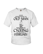 Never Underestimate Old Man Cycling February Youth T-Shirt thumbnail