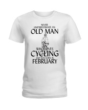 Never Underestimate Old Man Cycling February Ladies T-Shirt thumbnail