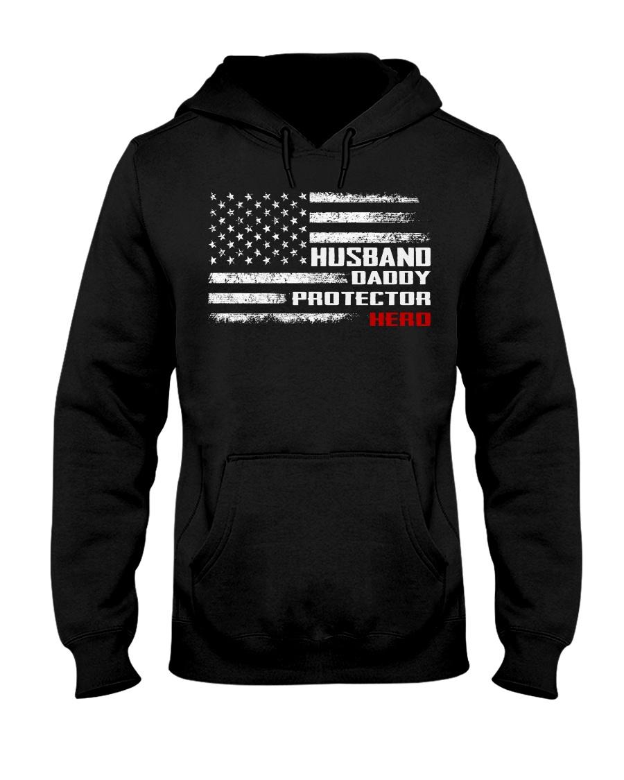 Husband Daddy Protector Hero American Flag Hooded Sweatshirt