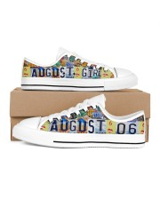 AUGUST 6 LICENSE PLATES Women's Low Top White Shoes inside-left-outside-left