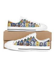 AUGUST 6 LICENSE PLATES Women's Low Top White Shoes inside-right-outside-right
