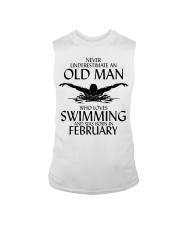 Never Underestimate Old Man Swimming February Sleeveless Tee thumbnail