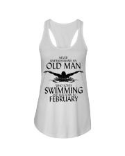 Never Underestimate Old Man Swimming February Ladies Flowy Tank thumbnail
