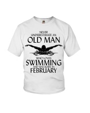 Never Underestimate Old Man Swimming February Youth T-Shirt thumbnail