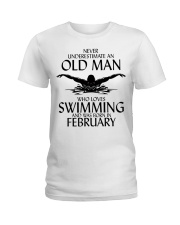 Never Underestimate Old Man Swimming February Ladies T-Shirt thumbnail