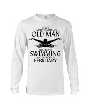 Never Underestimate Old Man Swimming February Long Sleeve Tee thumbnail