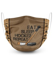 Eat Sleep Hockey Repeat 2 Layer Face Mask - Single front