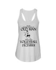Never Underestimate Old Man Volleyball December Ladies Flowy Tank thumbnail