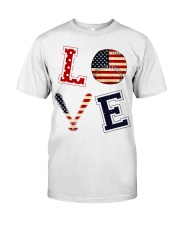 Baseball Lover USA Flag Classic T-Shirt front