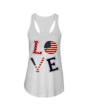 Baseball Lover USA Flag Ladies Flowy Tank thumbnail