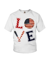 Baseball Lover USA Flag Youth T-Shirt thumbnail