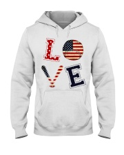 Baseball Lover USA Flag Hooded Sweatshirt thumbnail