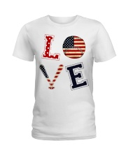 Baseball Lover USA Flag Ladies T-Shirt thumbnail
