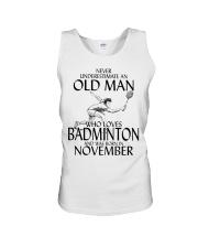 Never Underestimate Old Man Badminton November Unisex Tank thumbnail