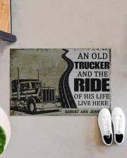 """Trucker An old trucker and the ride of his life  Doormat 22.5"""" x 15""""  aos-doormat-22-5x15-lifestyle-front-07"""