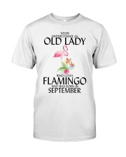 Never Underestimate Old Lady Flamingo September Classic T-Shirt front