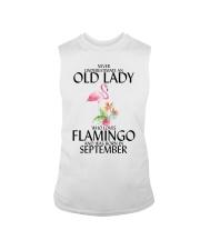 Never Underestimate Old Lady Flamingo September Sleeveless Tee thumbnail