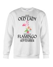 Never Underestimate Old Lady Flamingo September Crewneck Sweatshirt thumbnail