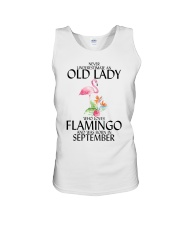 Never Underestimate Old Lady Flamingo September Unisex Tank thumbnail
