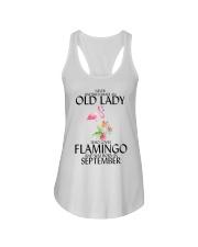 Never Underestimate Old Lady Flamingo September Ladies Flowy Tank thumbnail