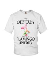 Never Underestimate Old Lady Flamingo September Youth T-Shirt thumbnail